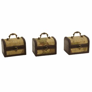 Bay Isle Home Pembroke Decorative Trunk Chests with Map Design (Set of 3)