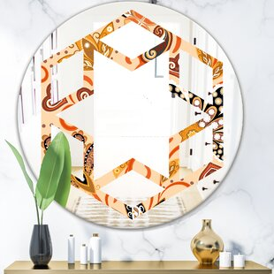 Indian Floral Batik III Hexagon Star Eclectic Frameless Wall Mirror by East Urban Home