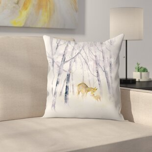 Snowflake Forest Deer Throw Pillow