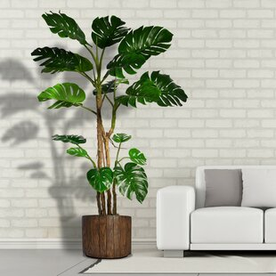 Monstera Artificial Home Decor Floor Foliage Tree In Planter