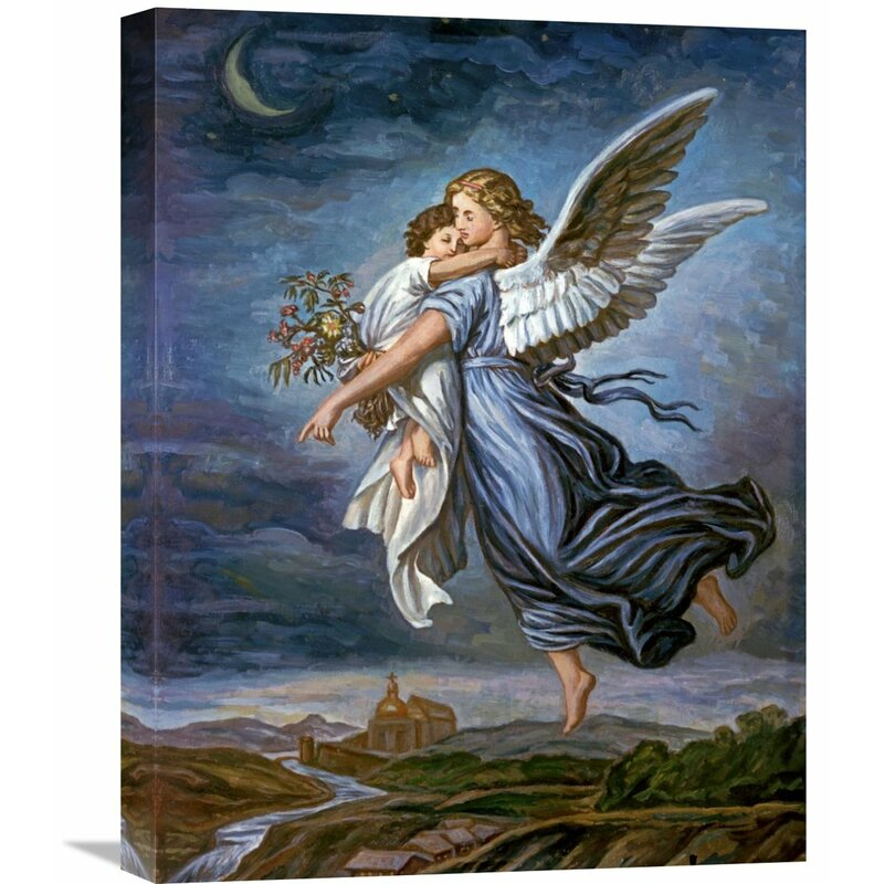Global Gallery 'The Guardian Angel' By Wilhelm Von Kaulbach Painting Best Guardian Angel Throw Blanket