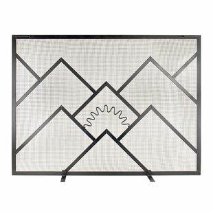 Sunrise Single Panel Iron Fireplace Screen by ACHLA