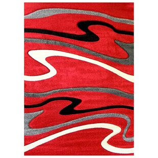 Reviews Studio Signature Wave Red/Black Area Rug By Sintechno