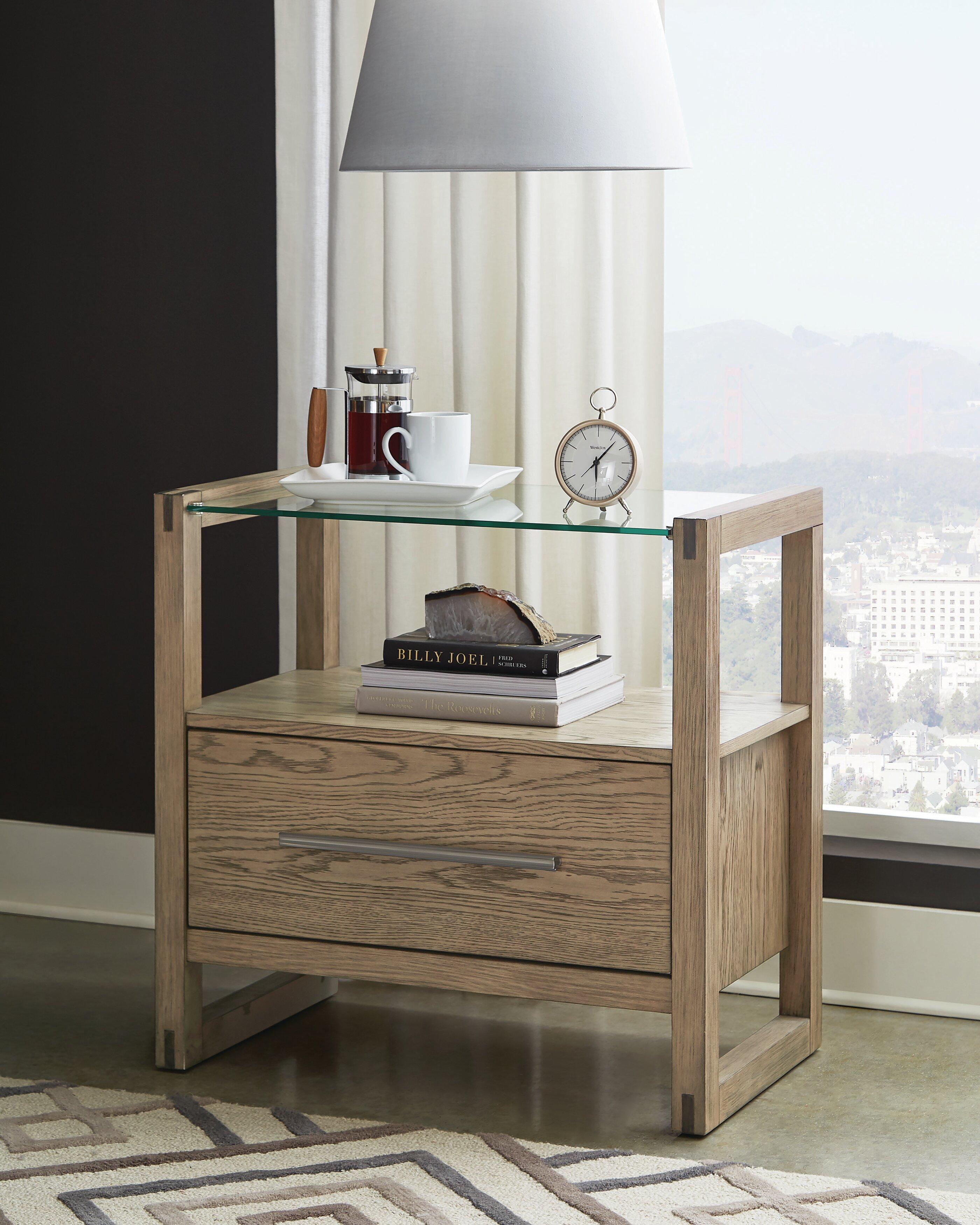 Cornelio 1 Drawer Nightstand With Glass Top Grey Oak