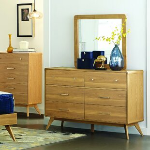 Langley Street Garvey 6 Drawer Double Dresser with Mirror