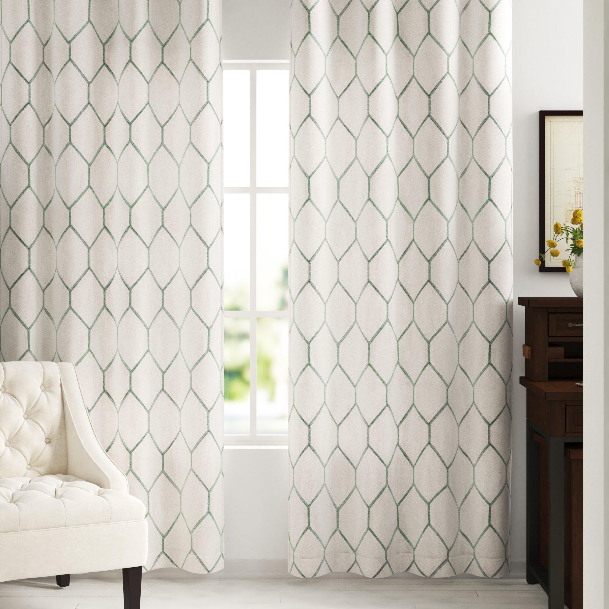 Three Posts Almaguer Geometric Semi Sheer Grommet Single Curtain Panel Reviews Wayfair