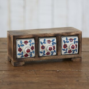 Fair Trade Flower 3 Ceramic Drawer Jewelry Box by Paper High