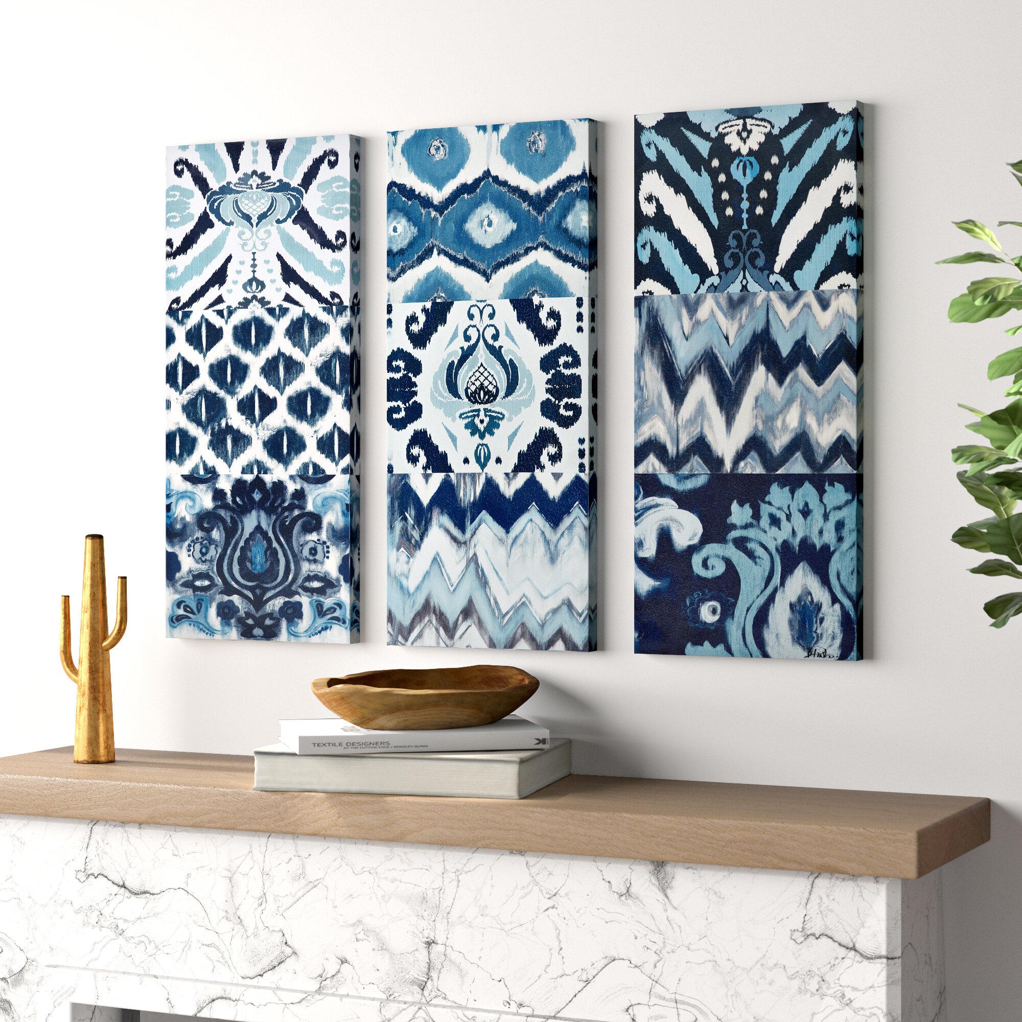 Mistana Flourish Ikat 3 Piece Graphic Art Print Set On Wrapped Canvas In Blue Reviews Wayfair