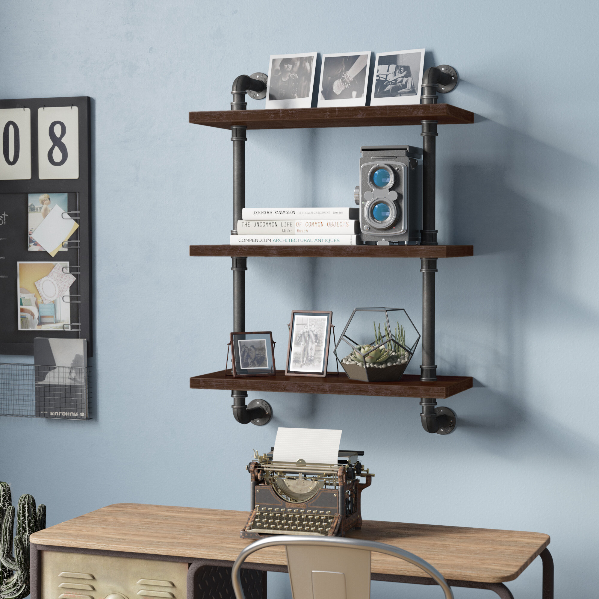Trent Austin Design Song Industrial Pipe Wood Accent Wall Shelf ...