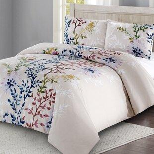 Amina Dahlia Lane Floral Stems 100% Cotton 3 Piece Duvet Cover Set