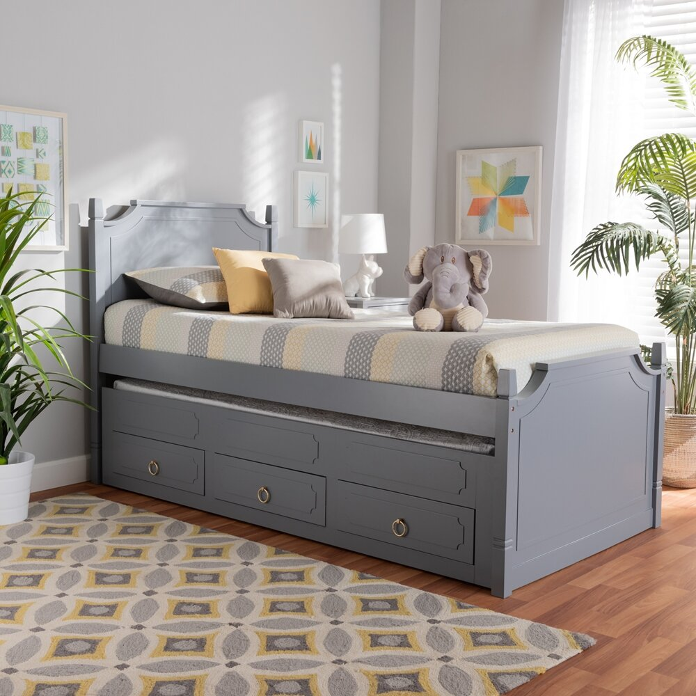 Harriet Bee Devillage Wood Twin Platform Bed With Trundle And 3 Drawers Wayfair