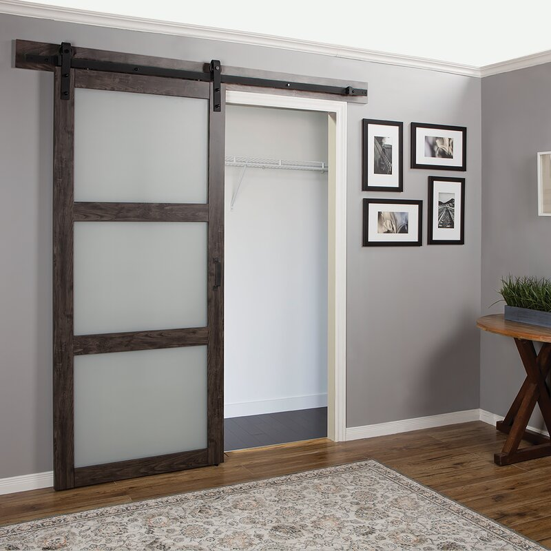 Attirant Continental Frosted Glass 1 Panel Ironage Laminate Interior Barn Door