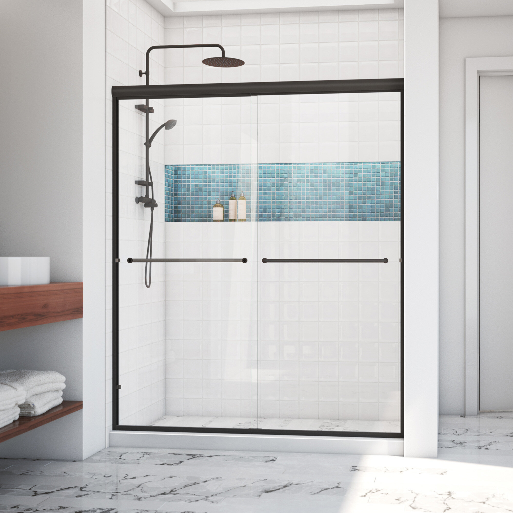Arizona Shower Door Ese 60 X 80 38 Bypass Semi Frameless Shower Door Wayfair