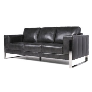 Modern Contemporary Leather Sofa With Chrome Legs Allmodern