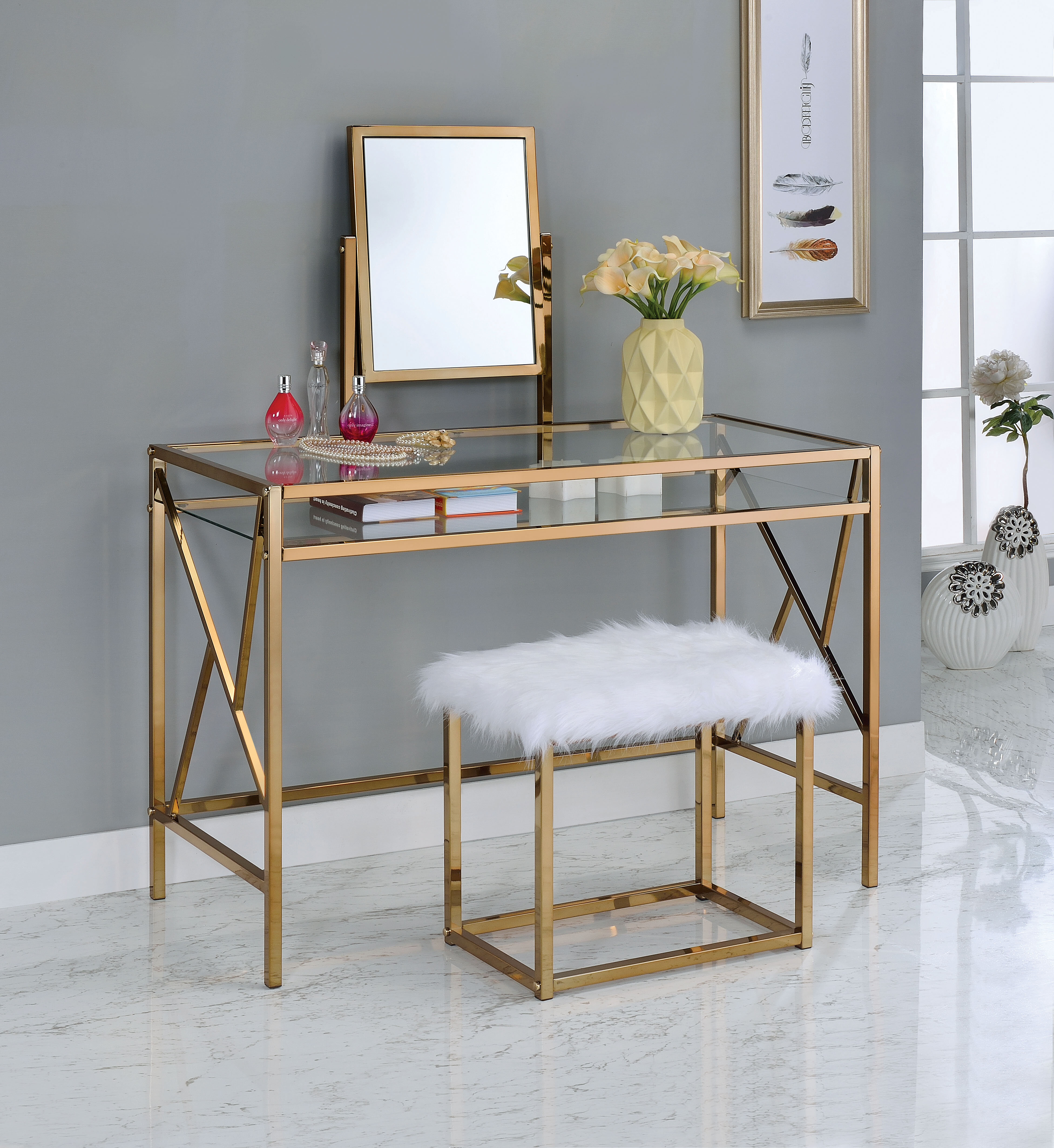 competitive price 18f78 3817b Enid Contemporary Vanity Set with Mirror