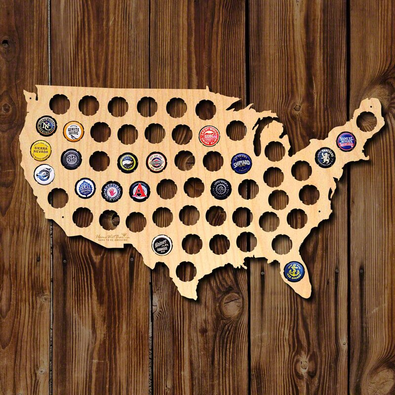 Williston Forge Medium Beer Cap Map of United States Wall Décor ...