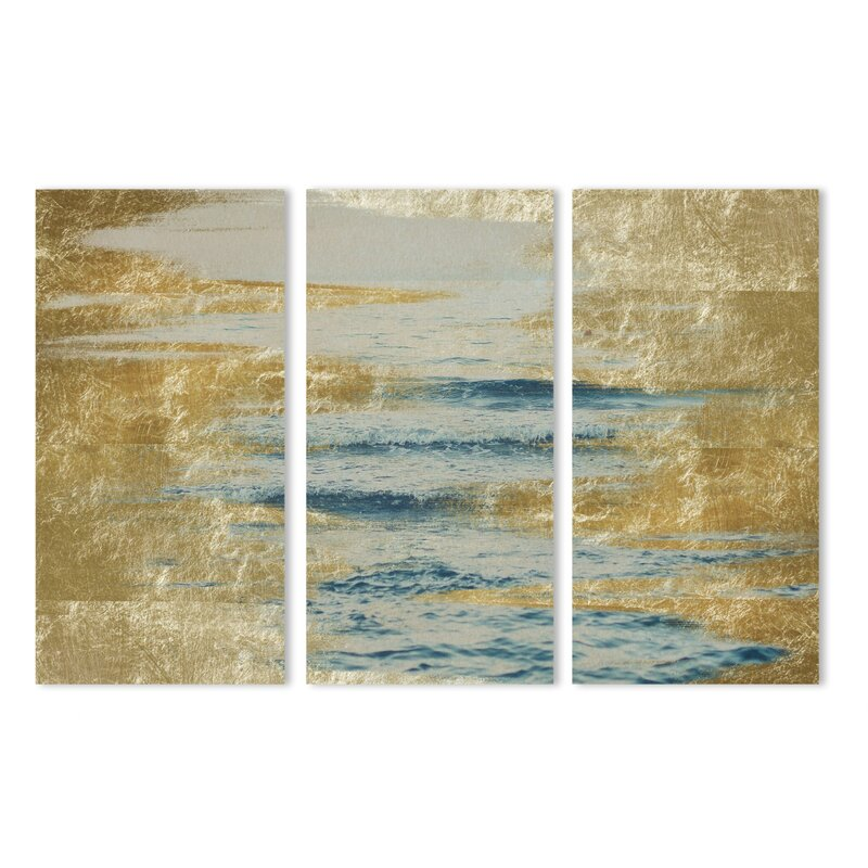 Mercer41 Sea In Gold Triptych Graphic Art Print Multi Piece Image On Canvas Wayfair