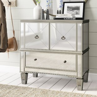 Sascha Mirrored 3 Drawer Accent Cabinet by Rosdorf Park