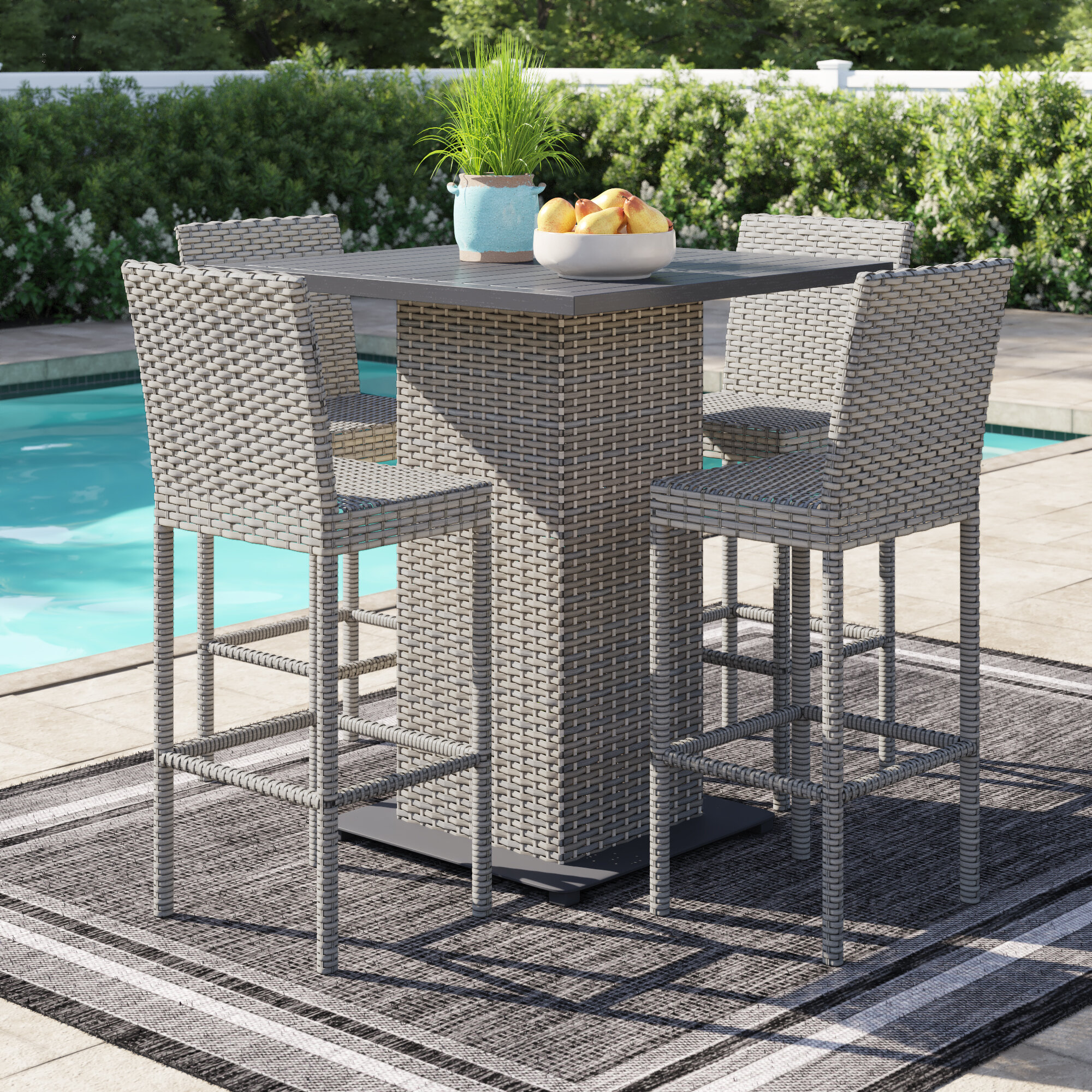 Picture of: Sol 72 Outdoor Oppelo 5 Piece Bar Height Dinning Set Wayfair