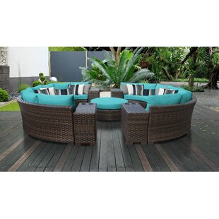 kathy ireland Homes & Gardens River Brook 11 Piece Outdoor Wicker Patio Furniture Set 11b by TK Classics