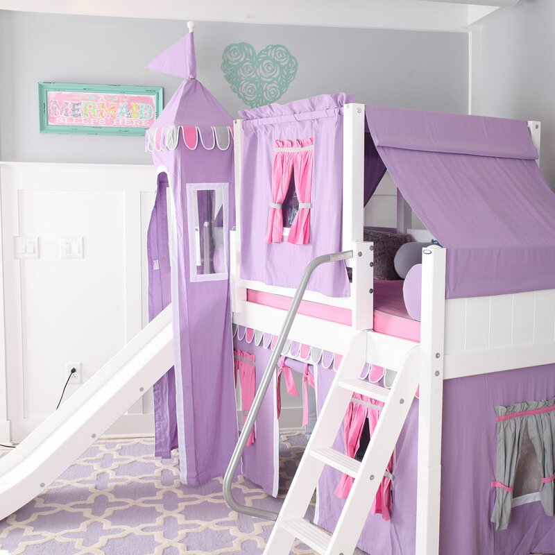 Wow Loft Bed with Slide Tent and Curtains & Maxtrix Kids Wow Loft Bed with Slide Tent and Curtains u0026 Reviews ...