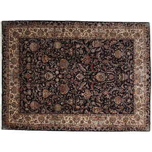 One-of-a-Kind Kashmar Hand-Knotted Black Area Rug