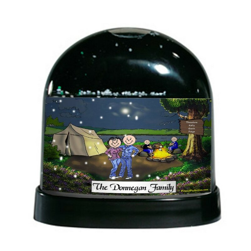The Holiday Aisle Friendly Folks Cartoon Caricature Two Children Camping Couple Snow Globe Wayfair