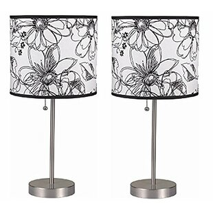 Contemporary Pull Chain with Fancy Drum Shade 19 Table Lamp (Set of 2) (Set of 2)