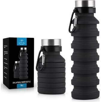Collapsible Silicone Water Bottle -Leak Proof 18 oz Fscool New 2019 Design