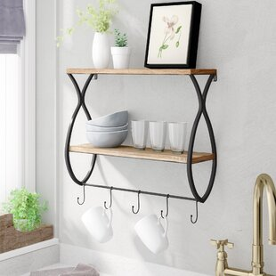 Laurel Foundry Modern Farmhouse Zander Wood and Metal Floating Wall Shelf