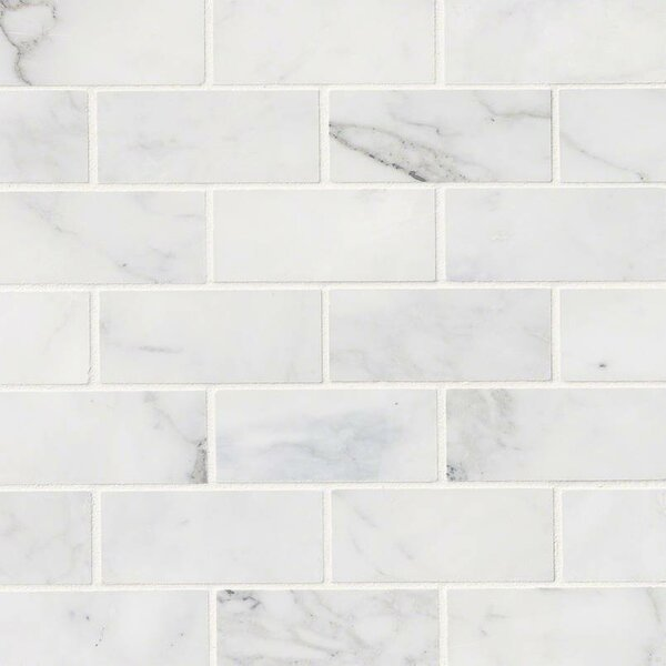 "Sample White Gray Random Subway Glass Mosaic Tile Kitchen: MSI Calacatta Cressa Honed 2"" X 4"" Marble Subway Tile In"