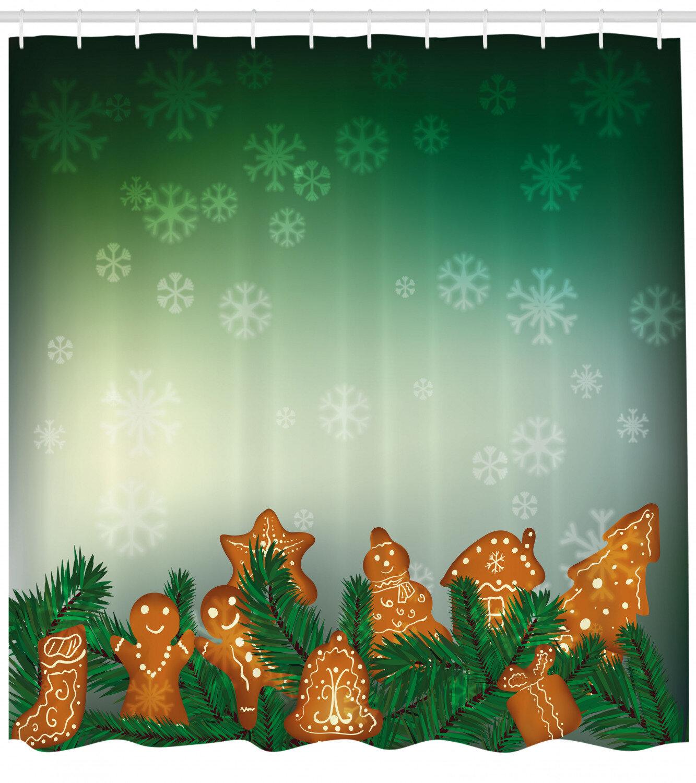 Gingerbread Man Shower Curtain Set Hooks
