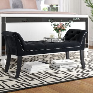 Melendy Velvet Tufted Stud Bench