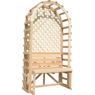Sams Gazebos Trellis Backdrop Wood Arbor with Bench