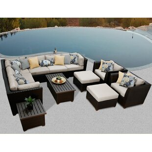 Barbados 12 Piece Sectional Seating Group with Cushions by TK Classics