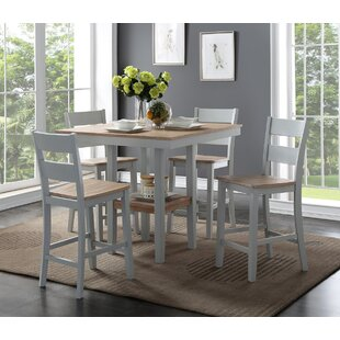 Liesel Counter 5 Piece Breakfast Nook Solid Wood Dining Set