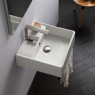 Price Check Teorema Ceramic 16 Wall Mount Bathroom Sink with Overflow By Scarabeo by Nameeks