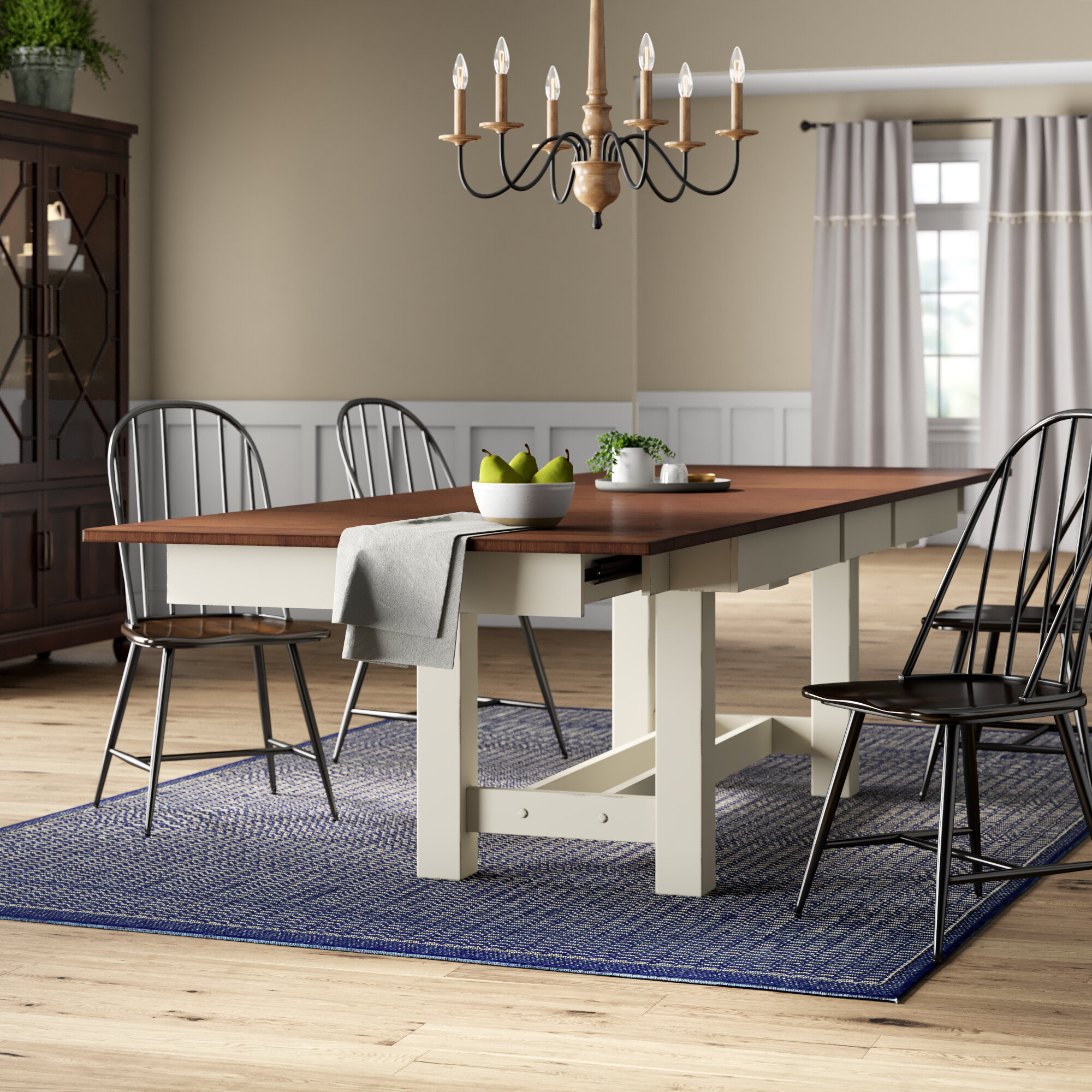 Mondovi Butterfly Leaf Rubberwood Solid Wood Trestle Dining Table