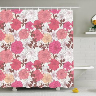 Dahlia Flower Mix of Blossoms Bouquet Romantic Retro Leaflets Shower Curtain Set