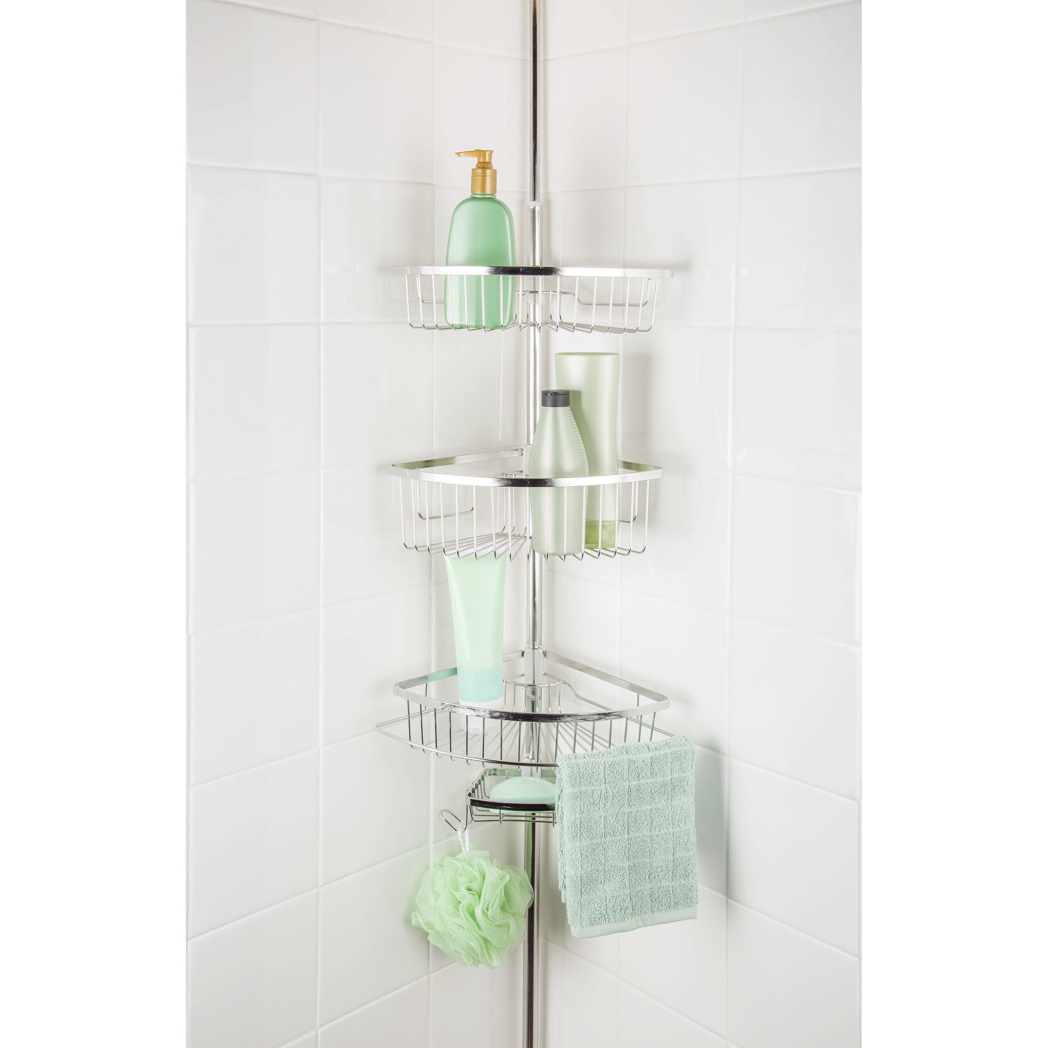 Rebrilliant Maya 3 Tier Corner Tension Pole Shower Caddy with Soap ...
