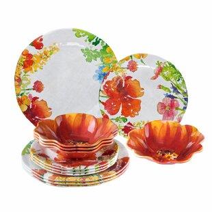 Pasadena Floral 12 Piece Melamine Dinnerware Set Service for 4