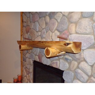 Cedar Fireplace Shelf Mantel In , With Support Logs By North Shore Log Company