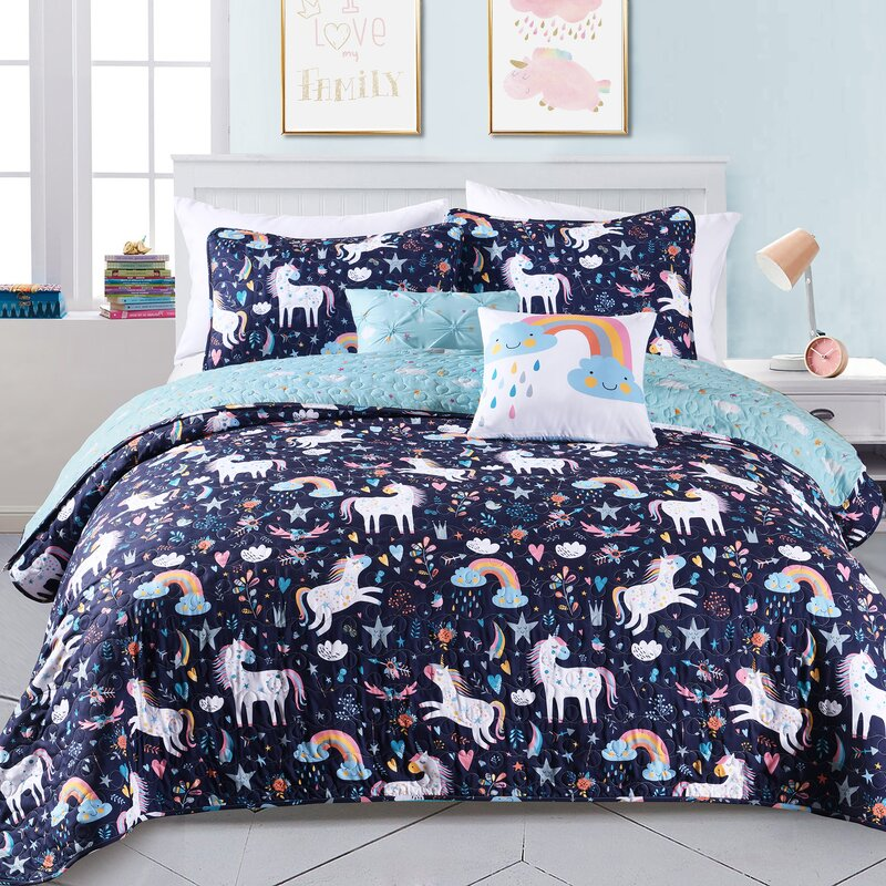 Caleigh Unicorn Heart Reversible Quilt Set by Isabelle & Max