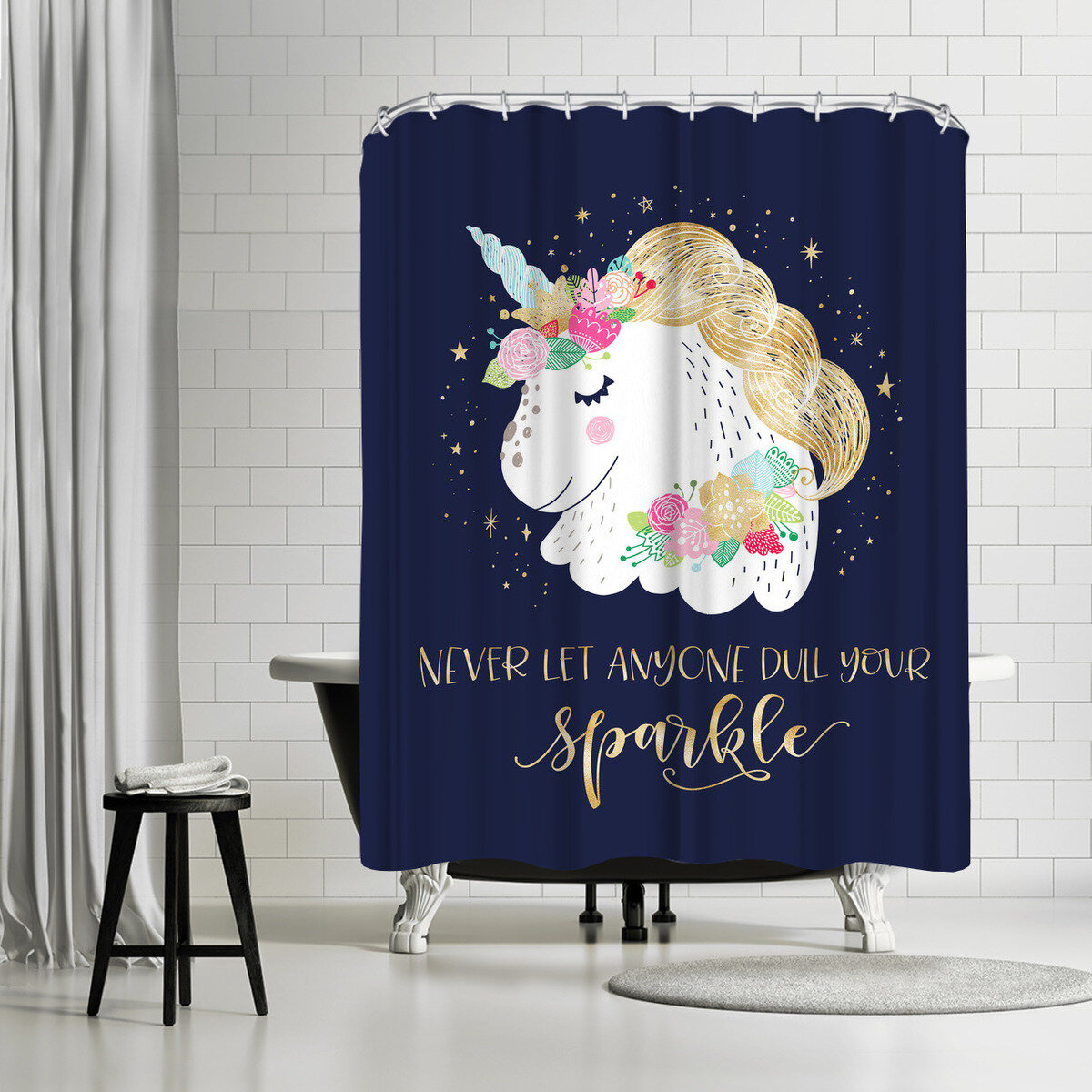 East Urban Home Elena David Sparkly Unicorn Single Shower Curtain Wayfair