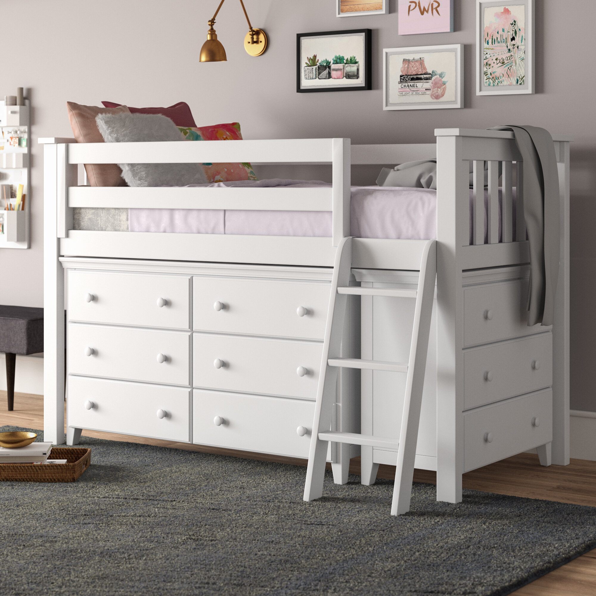 Harriet Bee Ginny Twin Low Loft Bed With Drawers Reviews Wayfair