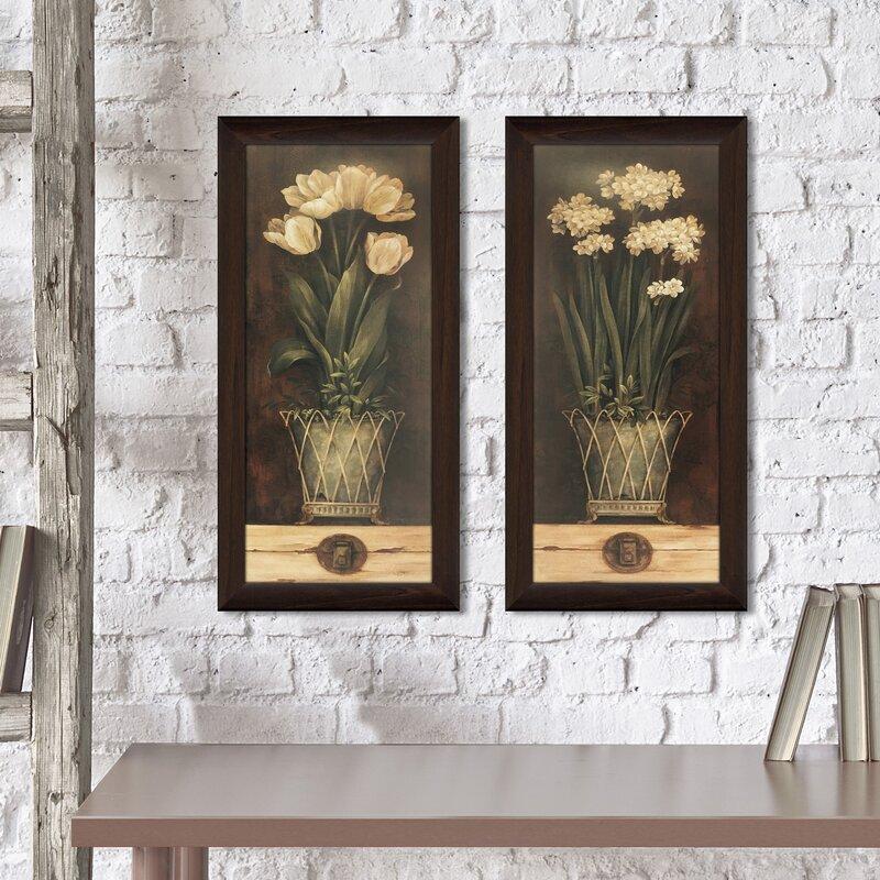 \'Petit Jardin I\' 2 Piece Framed Print Set