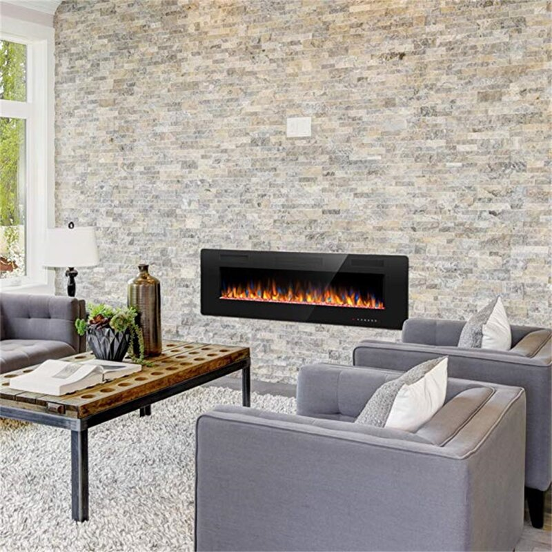 Ebern Designs Amarah Recessed Wall Mounted Electric Fireplace Reviews Wayfair