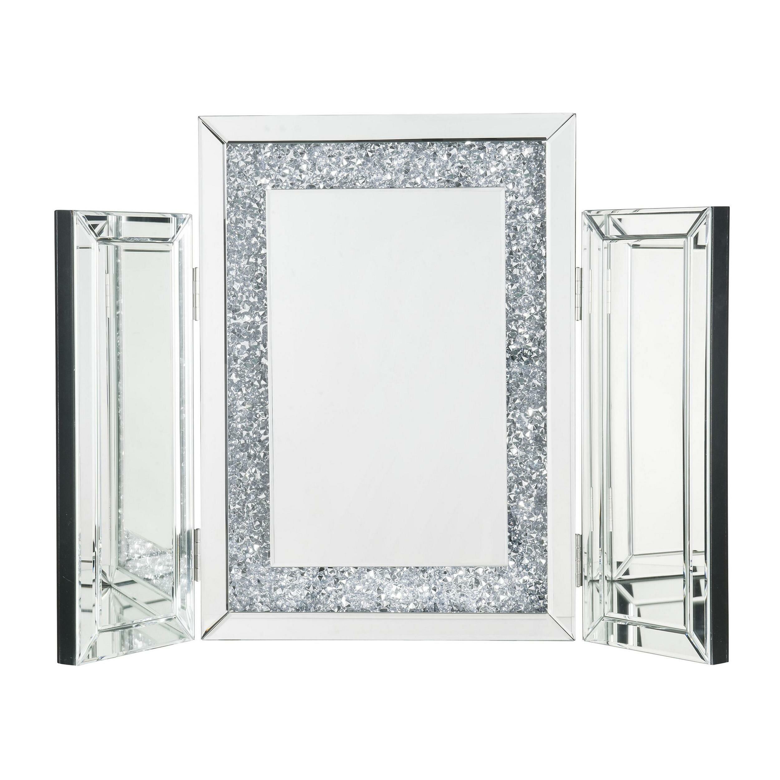 Everly Quinn Jamya Tri Fold Glam Beveled Bathroom Mirror Wayfair
