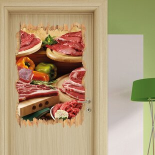 Delicious Meat Plate Wall Sticker By East Urban Home