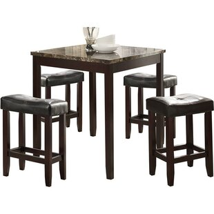 Nakasi Wooden Counter Height 5 Piece Pub Table Set by Winston Porter